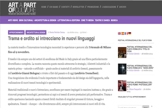 Art a part of culture – Trama e ordito si intrecciano in nuovi linguaggi