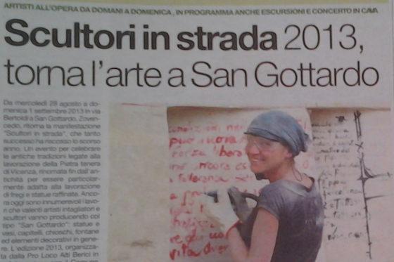 Il Giornale di Vicenza – Scultori in strada 2013-Torna l'arte a San Gottardo