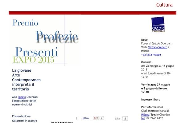 Premio Expo 2015- Profezie Presenti. Presentazione