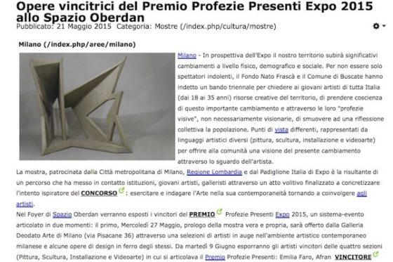 Opere vincitrici del Premio Profezie Presenti Expo 2015 allo Spazio Oberdan