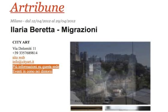 Artribune – Ilaria Beretta, Migrazioni