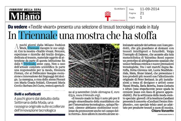 Corriere della Sera – In Triennale una mostra che ha stoffa