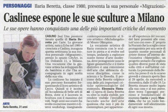 Caslinese espone le sue sculture a Milano