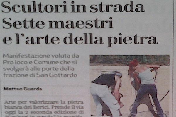 Il giornale di Vicenza – Scultori in strada: Sette maestri e l'arte della pietra
