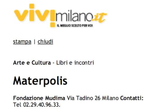 Vivi Milano – Materpolis alla Fondazione Mudima